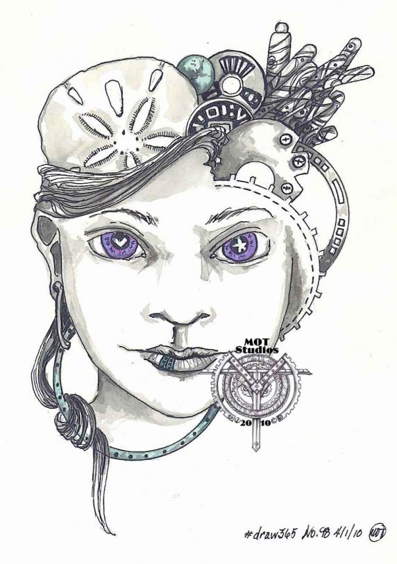 Steampunk head of woman