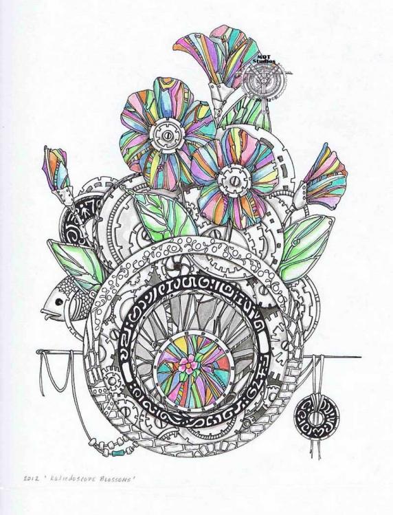 Steampunk Floral Mandala