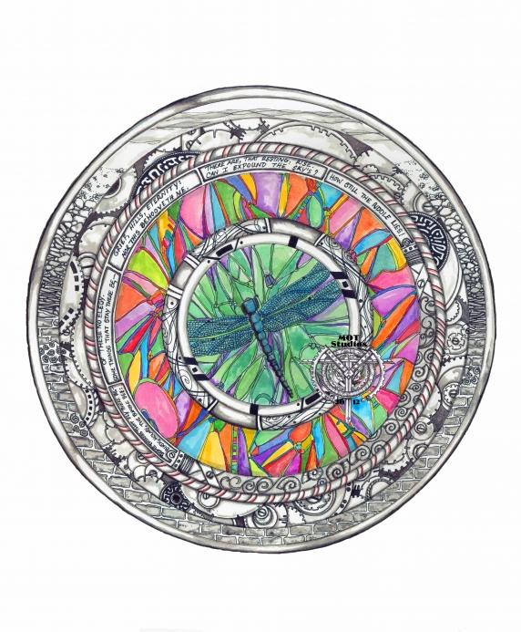 Mandala Dragonfly w/Emily Dickinson Poem