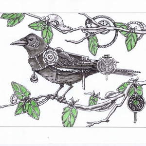 Steampunk Crow in Stainglass leaved tree