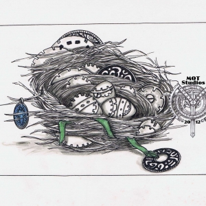 Nest embedded with gears and steampunk eggs