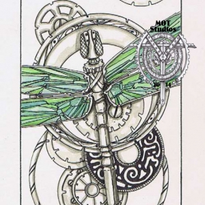 Stainglass Dragonfly over metallic gears and circles