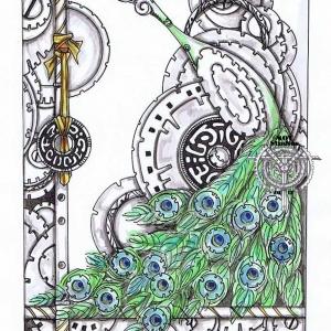 Peacock amidst gears & steampunk circles