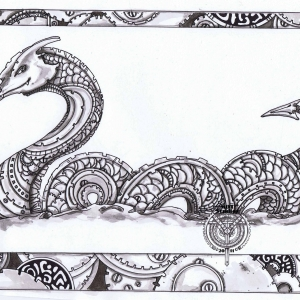 Sea Serpent with border of gears
