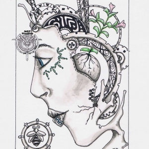 Steampunk head of woman with bee