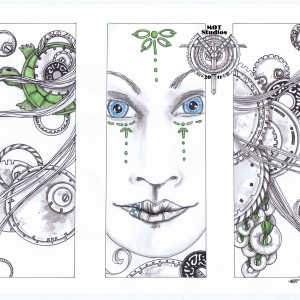 Triptych of woman's face, gears, and turtle